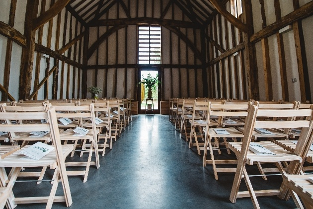 The ceremony space at Rowley Barn, in Hertfordshire