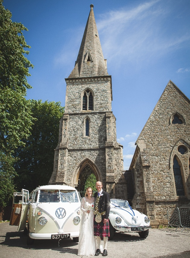 Coupe with VW outside church