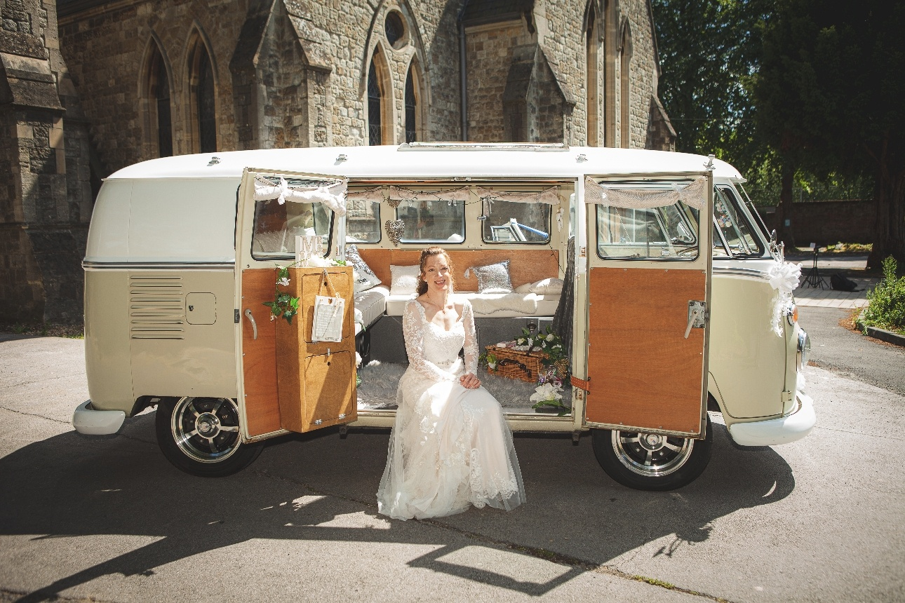 Bride sitting in campervan
